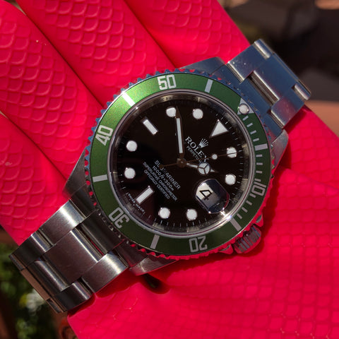 Rolex Submariner Date 16610LV 50th Anniversary Kermit Steel Full Set Box Papers Rehault Circa 2008