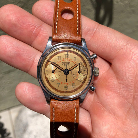 Vintage Heuer Stainless Steel Chronograph Valjoux 23 Manual Wristwatch