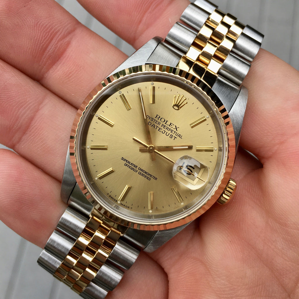 Rolex Datejust 16233 Two Tone Champagne Stick Automatic Wristwatch Circa 1991