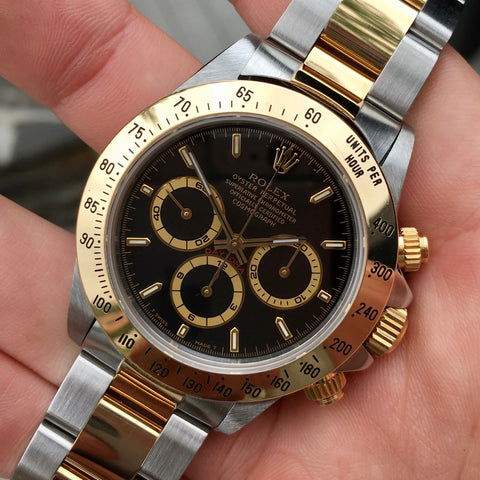 "Rolex Daytona 16523 Zenith Black Two Tone Steel & Gold ""T"" Serial Circa 1995"
