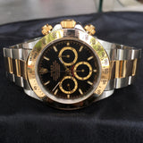 Rolex Daytona 16523 Zenith Black Two Tone Steel & Gold