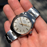 Vintage Rolex Air King 5500 Steel Linen Dial Caliber 1520 Automatic Wristwatch Circa 1973