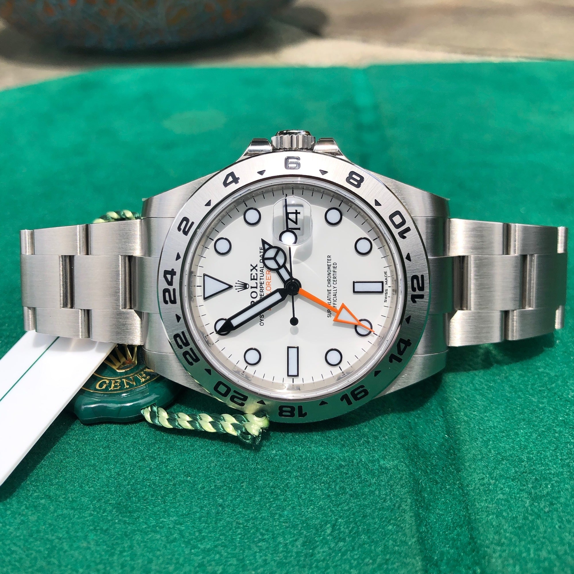 Rolex Explorer II 216570 White Steel GMT Oyster Perpetual Wristwatch Box Papers Unworn - Hashtag Watch Company