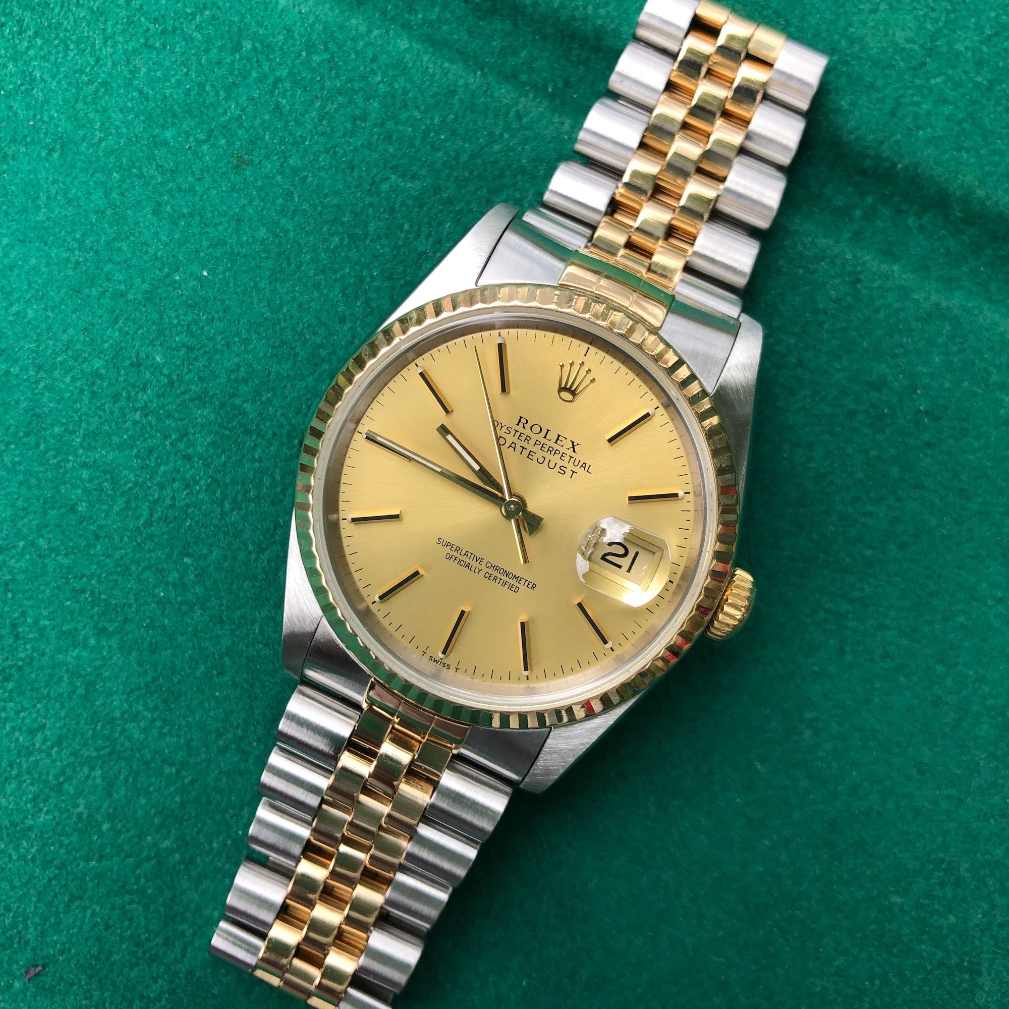 Rolex Datejust 16233 Two Tone Champagne Stick Automatic Wristwatch Box Papers Circa 1990 - Hashtag Watch Company