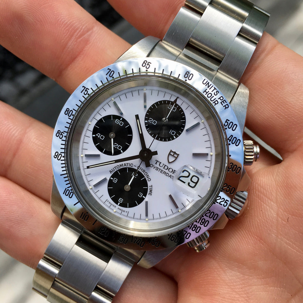 Tudor Big Block 79180 Steel Chronograph Panda Watch Like New Old Stock w/ Box & Papers Circa 1993