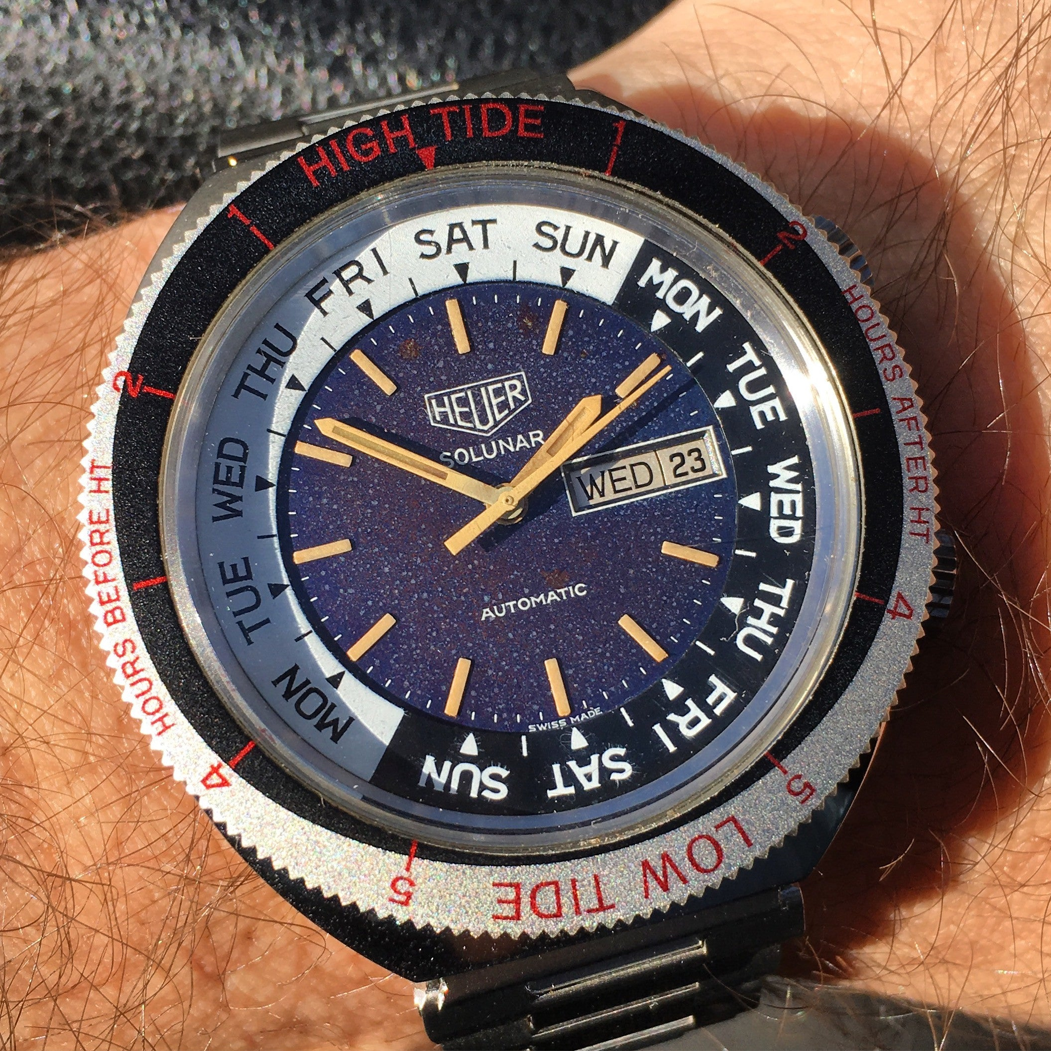 Vintage Heuer Solunar Tide Graphe Steel Day & Date Calendar Automatic Tropical Wristwatch - Hashtag Watch Company