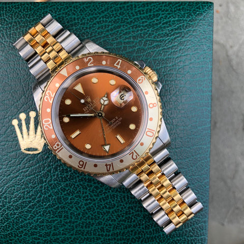 Rolex GMT MASTER II 16713 Two Tone Root Beer Automatic Box Papers Circa 1989