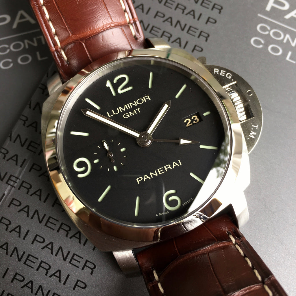 Panerai Luminor 1950 PAM 320 44mm 3 Days GMT Power Reserve Brown Wristwatch Box & Papers - Hashtag Watch Company