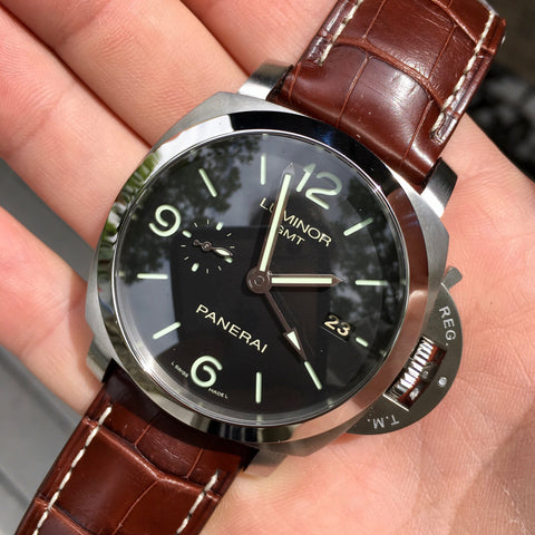 Panerai Luminor 1950 PAM 320 44mm 3 Days GMT Power Reserve Brown Wristwatch Box & Papers