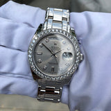 Rolex Pearlmaster 18946 Platinum 39mm Rhodium Serti Diamond Day Date Wristwatch Box & Papers