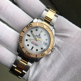 Rolex Yachtmaster 168623 Two Tone Steel Gold 35mm White Oyster Wristwatch Box Papers