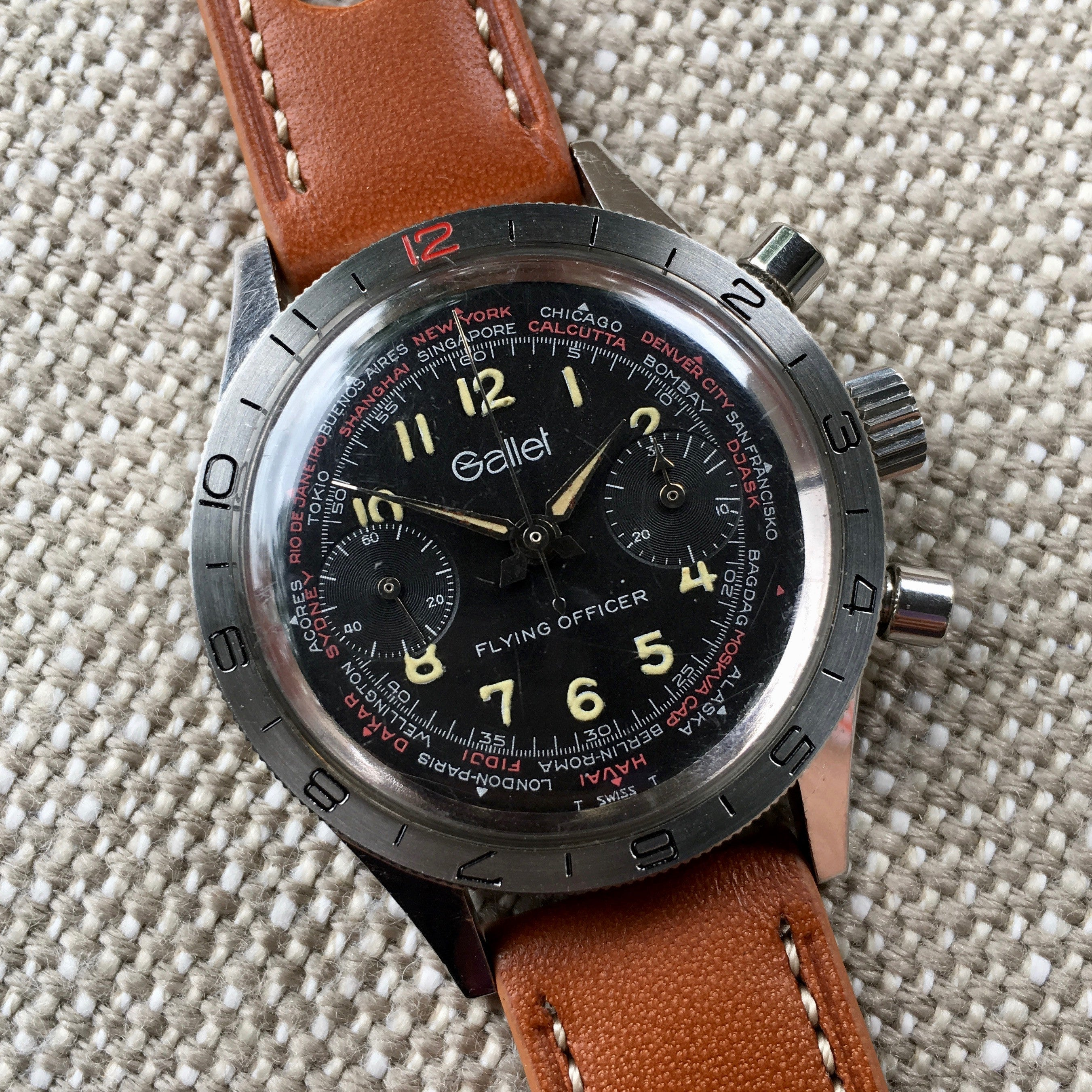 Vintage Gallet Flying Officer Chronograph Landeron Caliber 149 Steel Wristwatch Circa 1970's 3rd Gen.