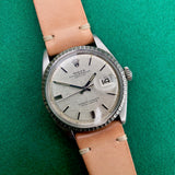 Vintage Rolex Datejust 1603 Silver Linen Engine Turned Wristwatch Circa 1968