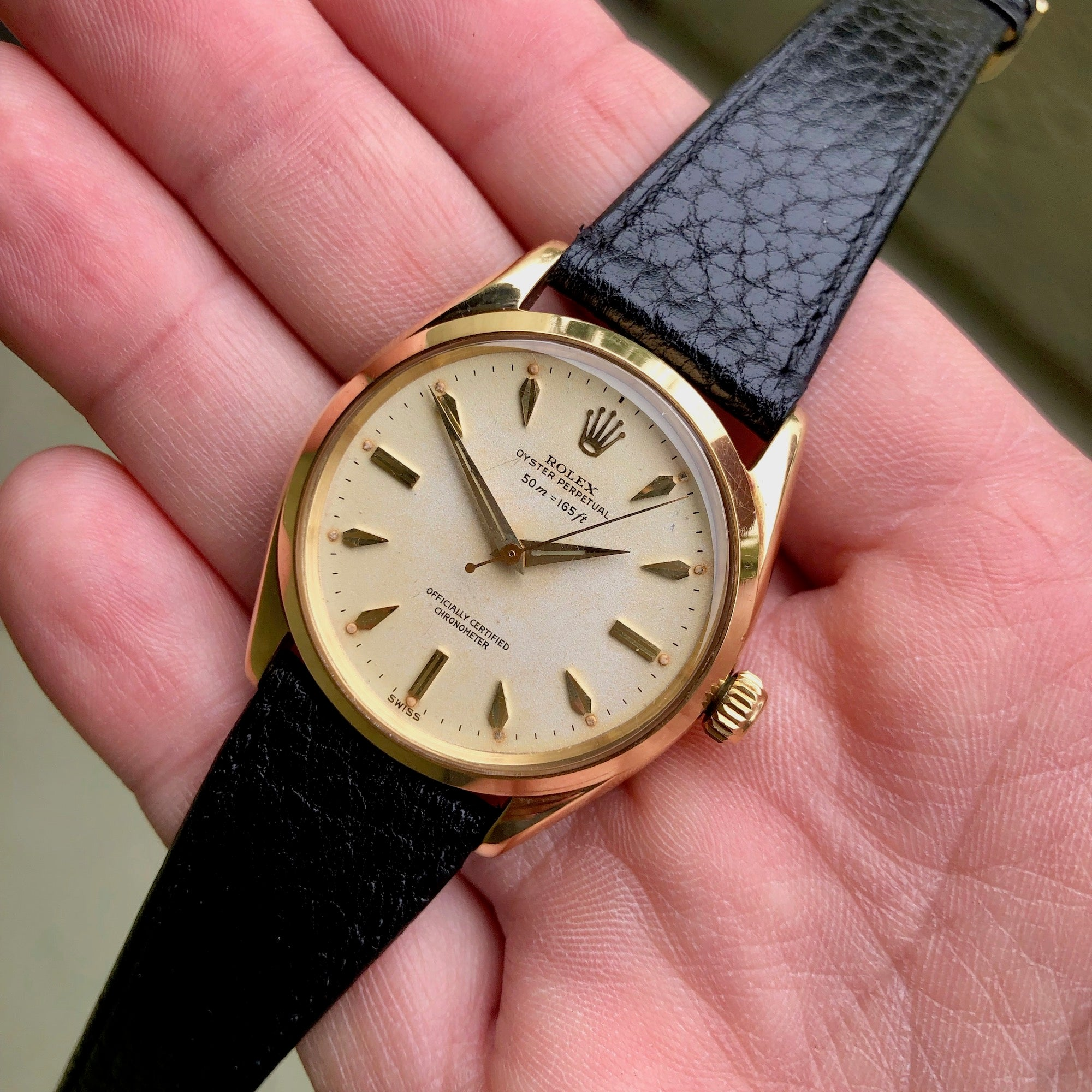 Vintage Rolex Oyster Perpetual 6564 50m = 165ft 18K Yellow Automatic Wristwatch Circa 1954 - Hashtag Watch Company