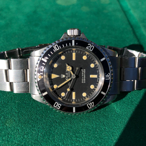 Vintage Rolex Submariner 5513 Meters First Dial Matte Black Wristwatch Circa 1968 Box Papers