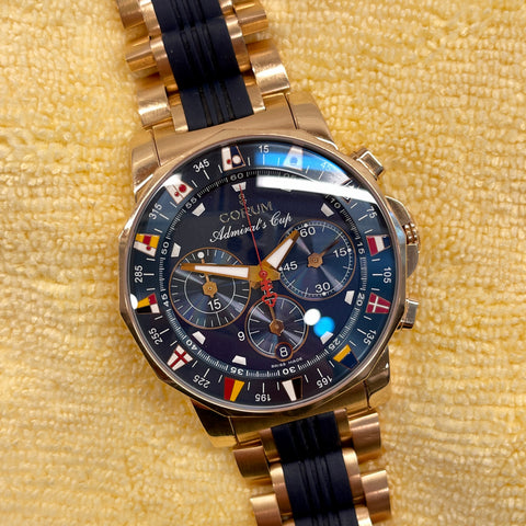 Corum Admiral's Cup Chronograph 44mm 18K Rose Gold Rubber Bracelet Blue Dial 985.673.55