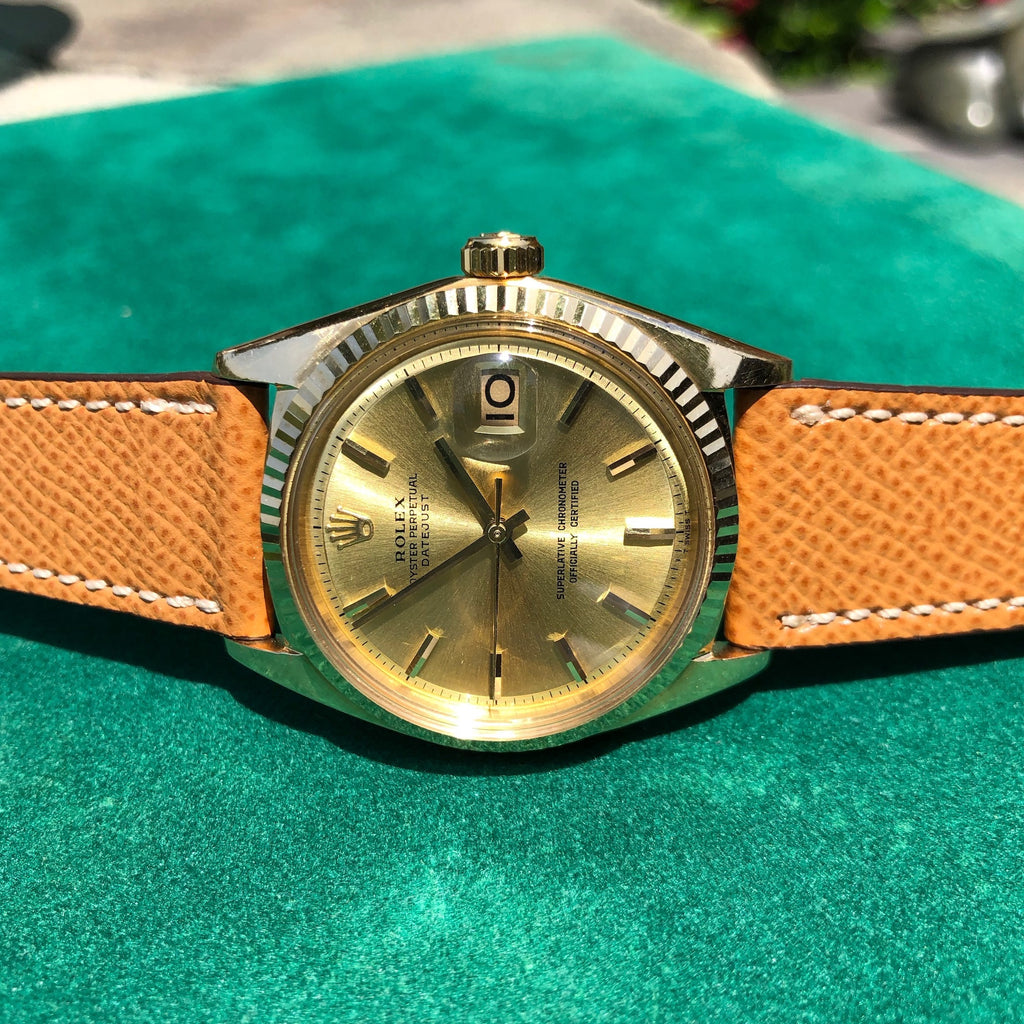 Vintage Rolex Datejust 1601 18K Yellow Gold Champagne Automatic Wristwatch Booklets COSC Papers Circa 1969