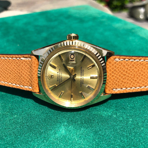 Vintage Omega Seamaster DeVille Day Date Tiffany & Co. 14K Gold Diamond Watch