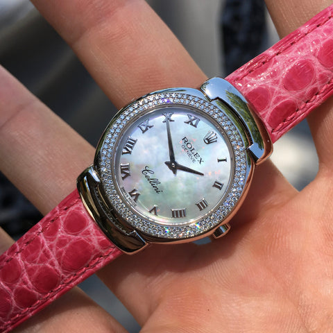 Rolex Cellini 6671 18K White Gold MOP Diamond Bezel Pink Ladies Wristwatch
