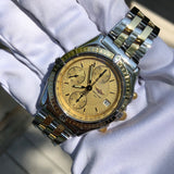 Breitling Chronomat 13050 Chronograph Two Tone Steel Gold Automatic Wristwatch Box Papers