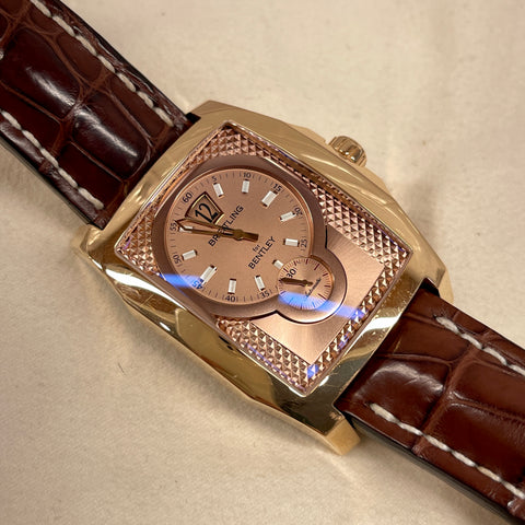 Breitling Bentley Flying B R28362 18K Rose Gold Leather Automatic Amber Jump Hour Wristwatch