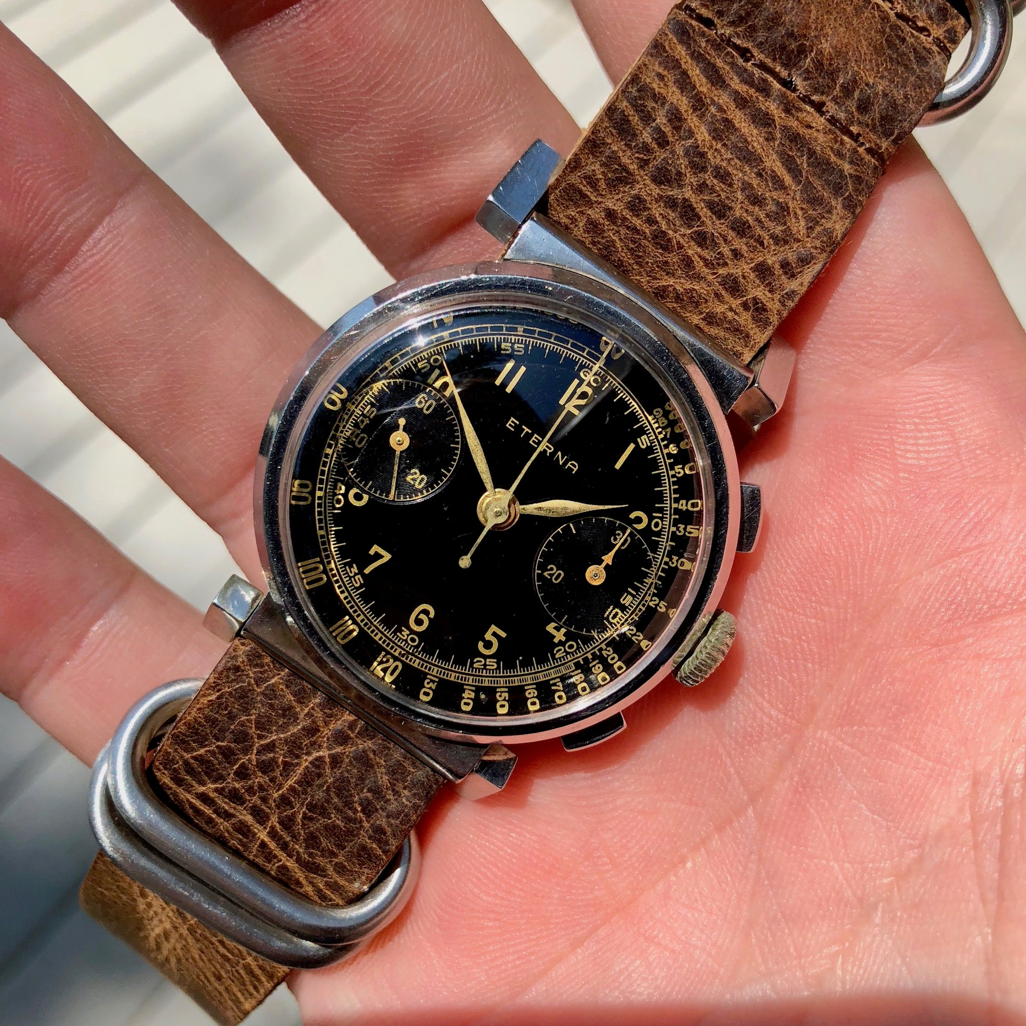 Vintage Eterna Stainless Steel Gilt Chronograph Flexible Lugs Manual Wind 35mm Wristwatch - Hashtag Watch Company