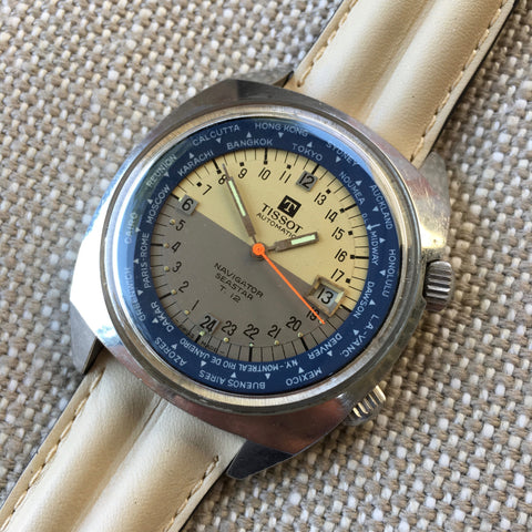 Vintage Tissot Navigator Seastar T12 24 HR World Time Cal. 798 Automatic Wristwatch