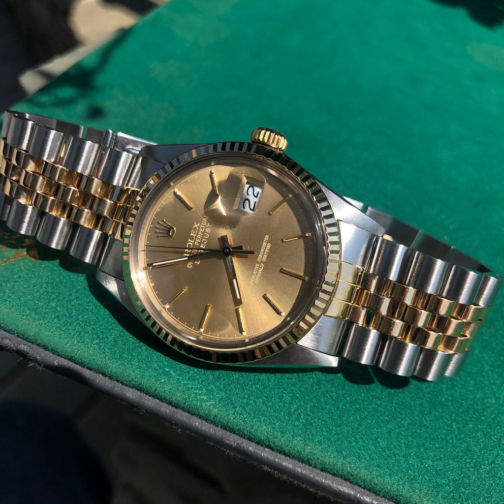 Vintage Rolex Datejust 16013 Steel Gold Two Tone Jubilee Tropical Automatic Wristwatch Circa 1986