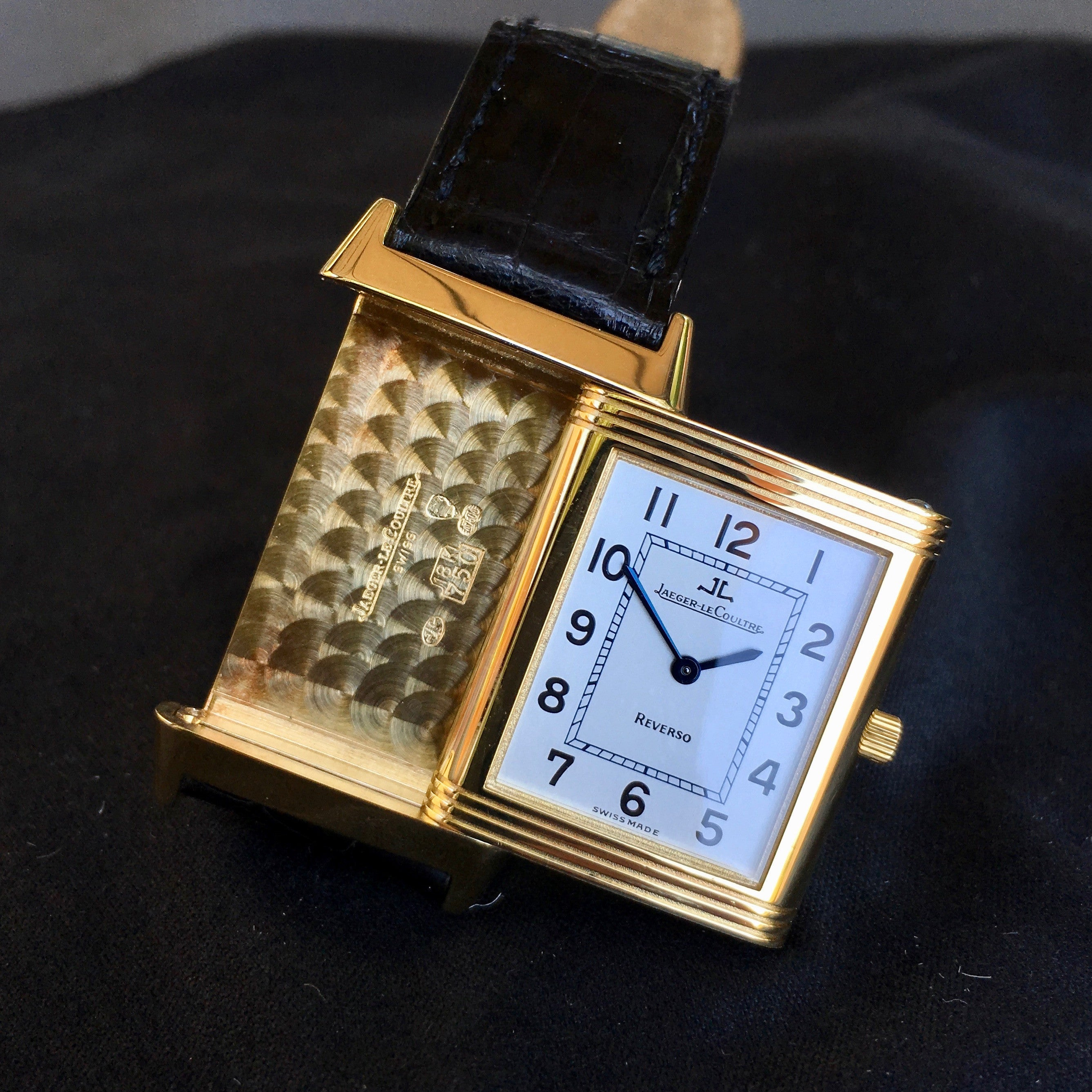 Jaeger LeCoultre Reverso 18K Yellow Gold Manual Wind Silver Leather Wristwatch - Hashtag Watch Company