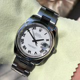 Rolex Datejust 116200 Oyster Perpetual White Roman 36mm Wristwatch Box & Papers - Hashtag Watch Company