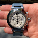 Cartier Pasha Seatimer Chronograph W31089M7 Steel Automatic 42mm Wristwatch Box & Papers