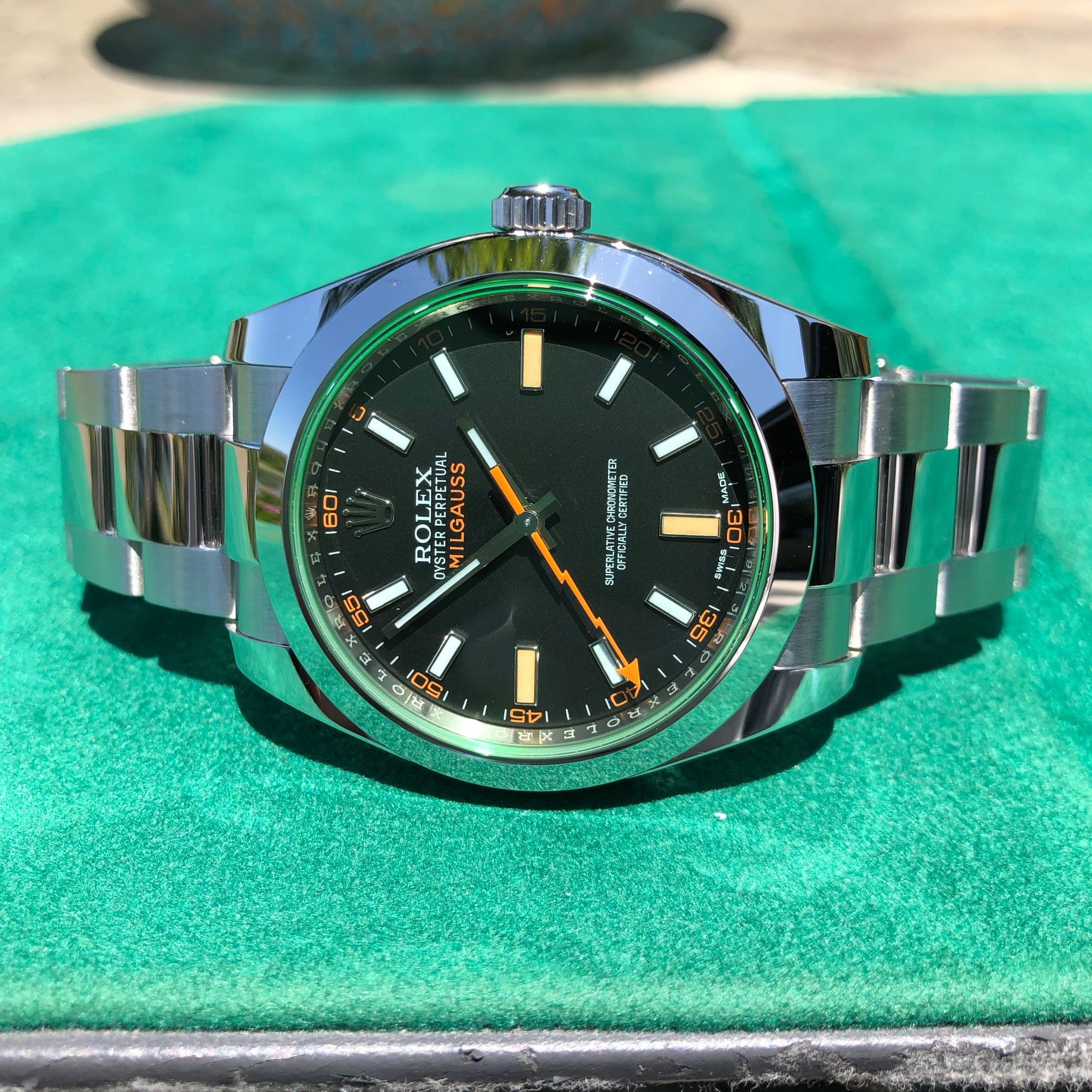 Rolex Milgauss Green 116400GV Stainless Steel Wristwatch Box Papers Circa 2019 - Hashtag Watch Company