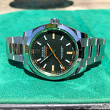 Rolex Milgauss Green 116400GV Stainless Steel Wristwatch Box Papers Circa 2019