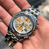 Breitling Chrono Cockpit B13358 Two Tone Steel Gold Roman MOP Diamond Automatic Wristwatch Box Papers
