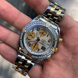 Breitling Cockpit B13358 Two Tone Steel Gold Roman MOP Diamond Box Papers - Hashtag Watch Company