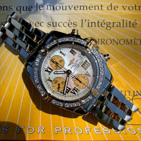 Breitling Cockpit B13358 Two Tone Steel Gold Roman MOP Diamond Box Papers