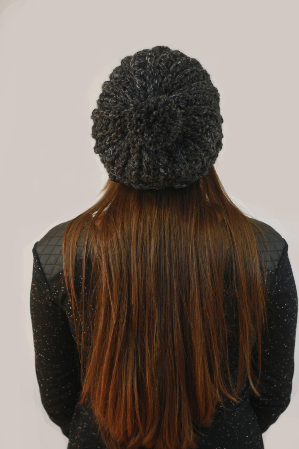 Very warm comfortable wool winter hat Charcoal/Black Slouchy Pom Pom Beanie Handmade Crochet Montreal Miyuki Crochet