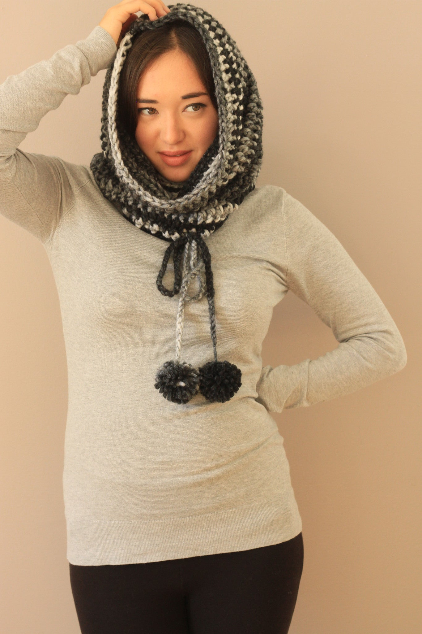 hooded cowl warm cozy crochet knitted winter wear