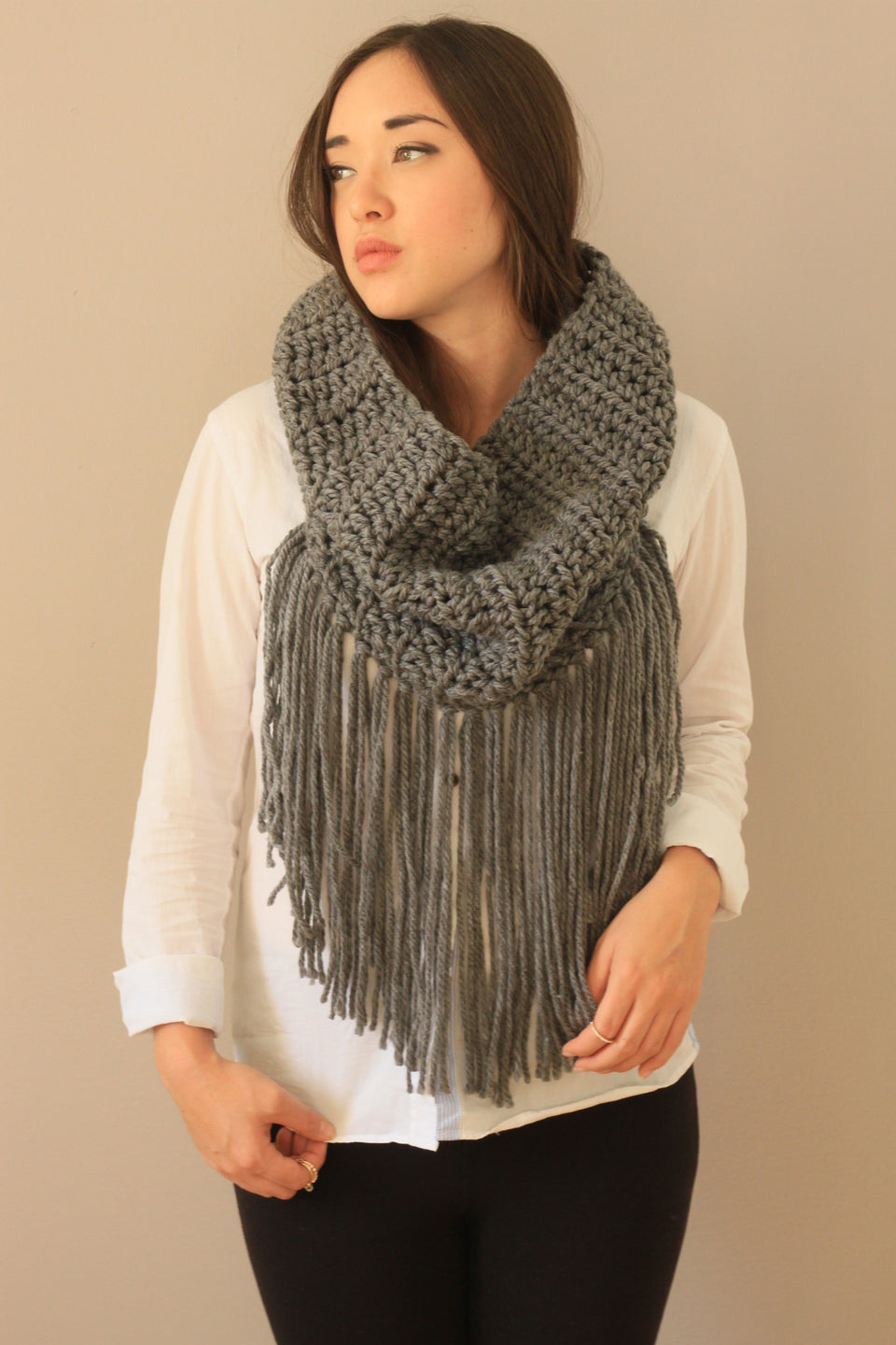 montreal made fringe cowl in grey cozy trendy