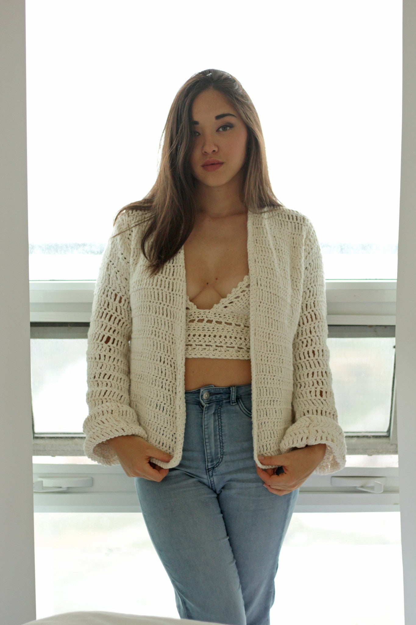 Handmade Cotton Cardigan miyuki crochet shop local montreal breathable vegan