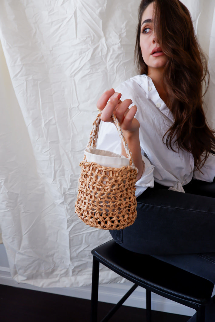 mini bucket handbag miyuki crochet ethical fashion in toronto