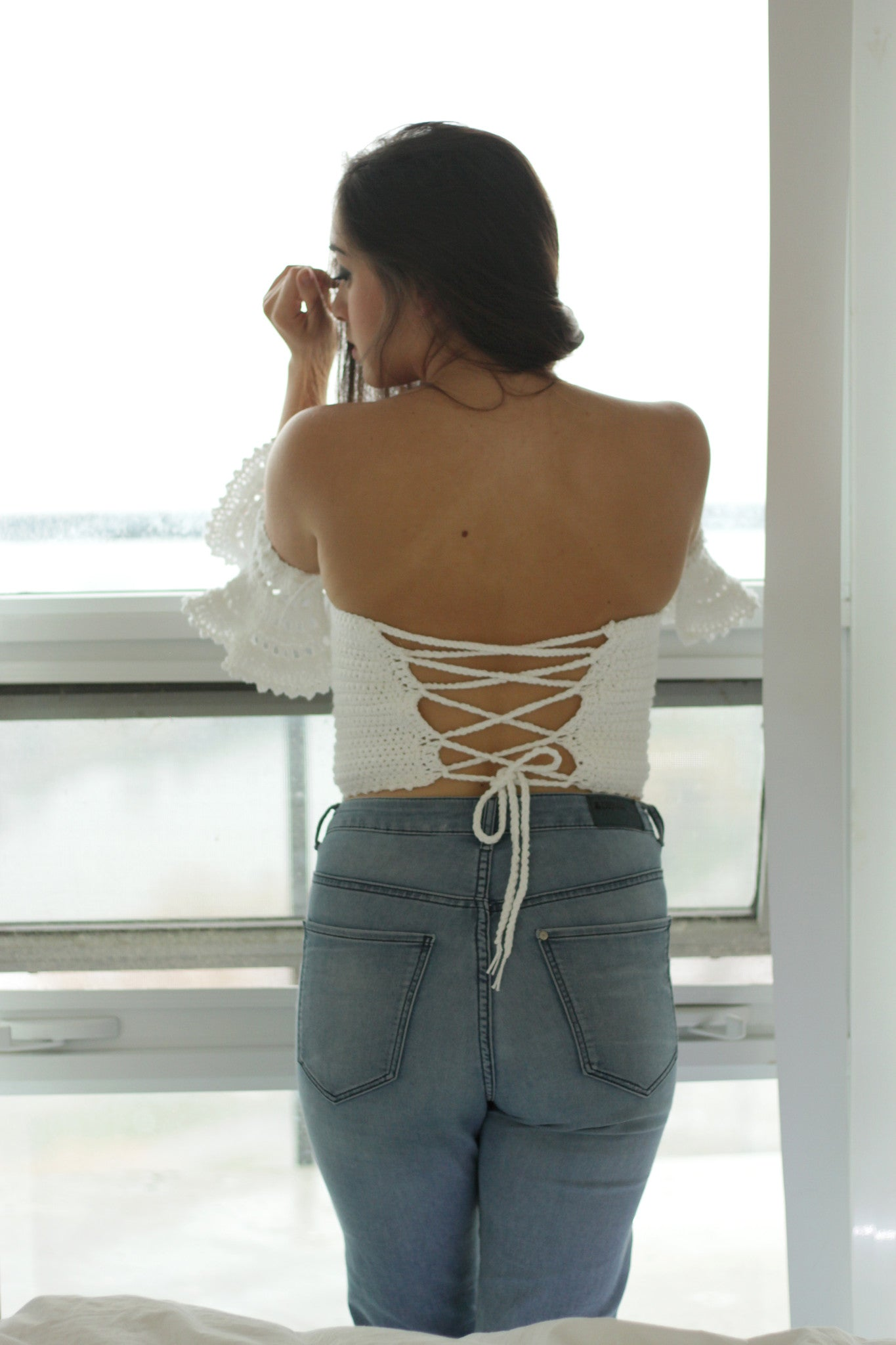 criss cross corset back white romantic off the shoulder top