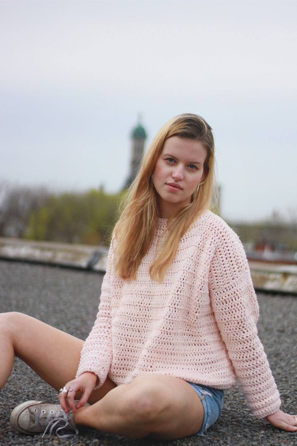 Pink pull over cotton sweater miyuki crochet ethical fashion canada