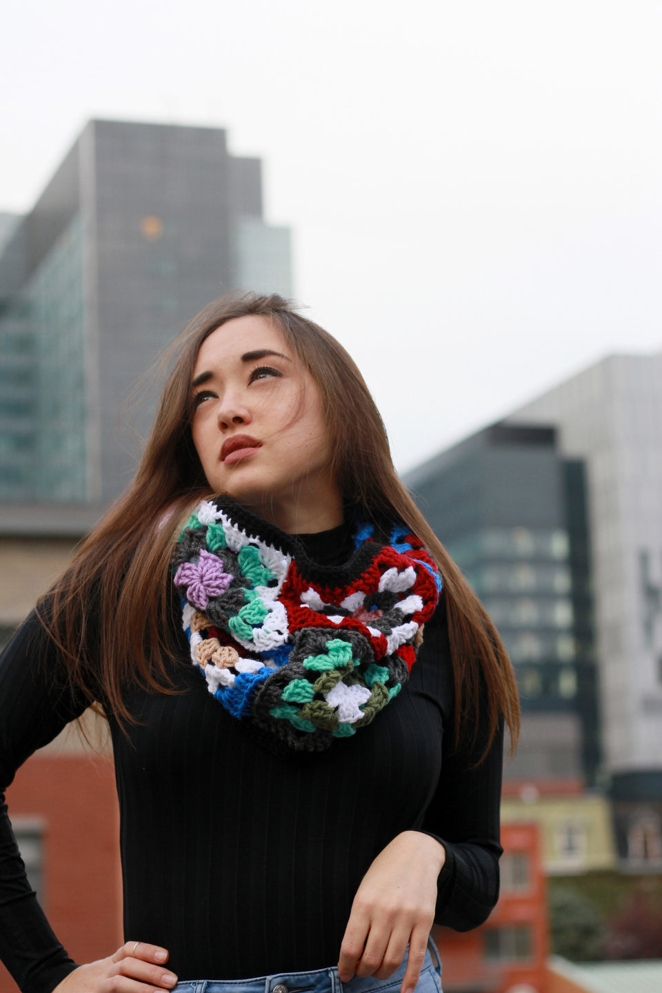 made in canada local designer trendy scarf Miyuki Crochet