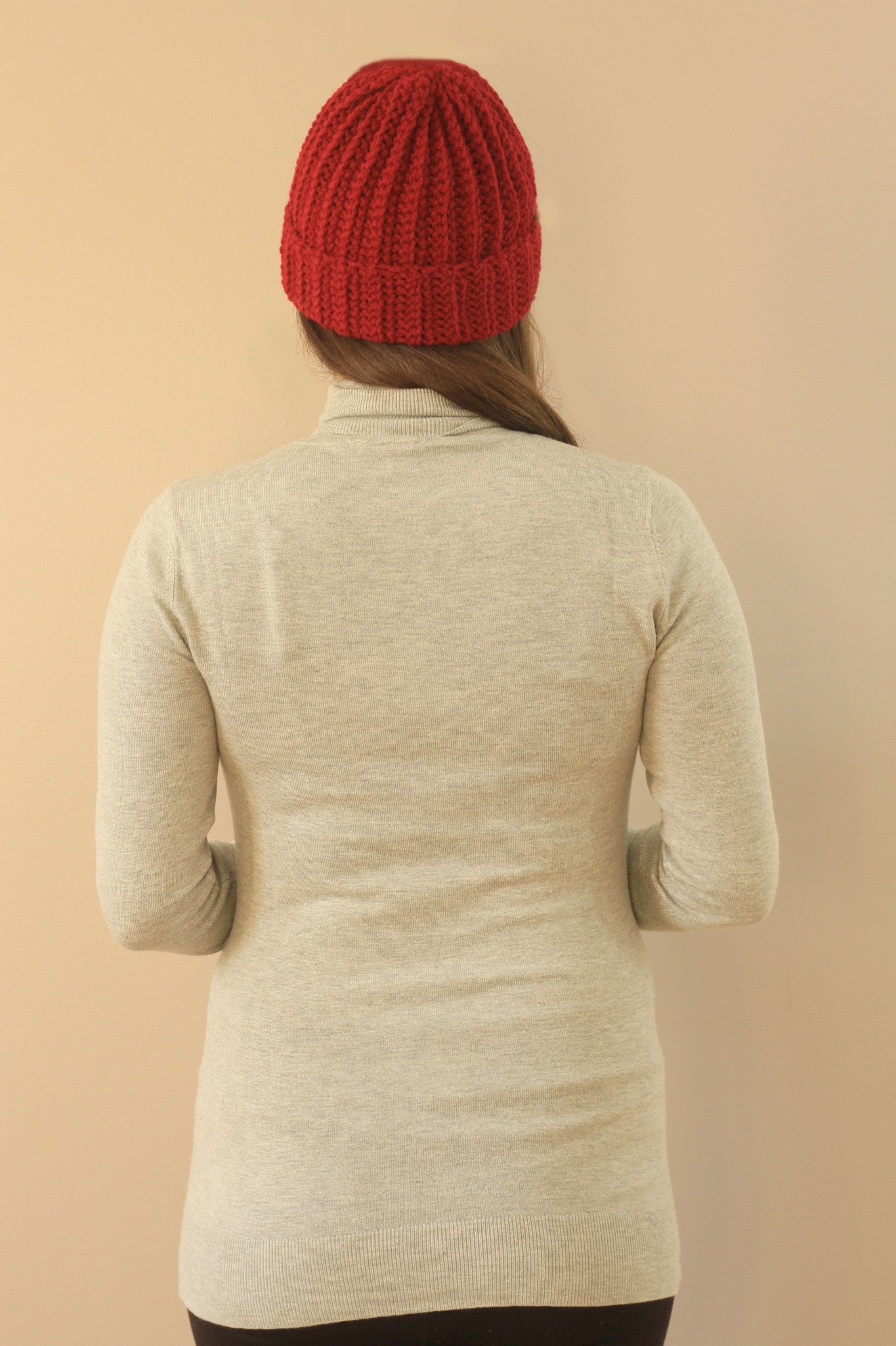red ribbed hat handmade unisex nice hat hipster mile end made