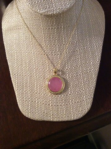 Pink Circle Drop Necklace - Two Elle's Boutique