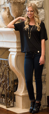 Black Mayr Top, Scoop Neck by Amour Vert - Two Elle's Boutique
