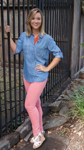Mya Jeans, Nantucket Red - Two Elle's Boutique