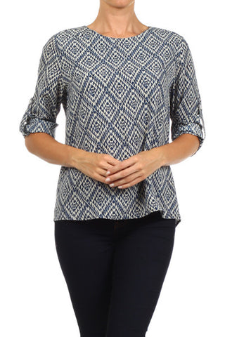 Blue Aztec Top - Two Elle's Boutique  - 1