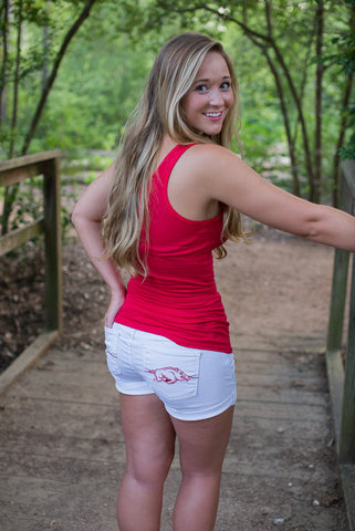 Arkansas Razorback Cuffed Shorts - Two Elle's Boutique